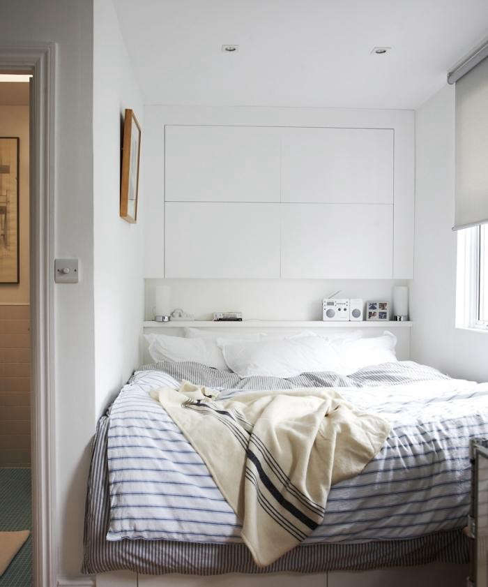 In my own bedroom, my husband and I maximized space by building our bed into an awkward niche and creating built-in storage above and pullout drawers below. More of our space-saving solutions can be seen in Living Small in London.