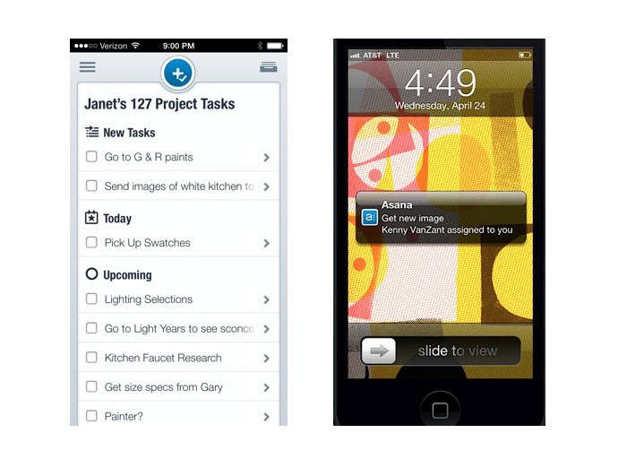 Allison Bloom ofDehn Bloom Designuses task management apps with her clients to share To-Do lists, photos, product links, and the like. TheAsana Mobile App for iPhone and iPadand theAsana Mobile App for Androidare free.