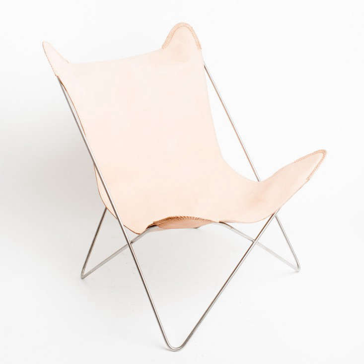 Barnaby lane pale leather butterfly chair