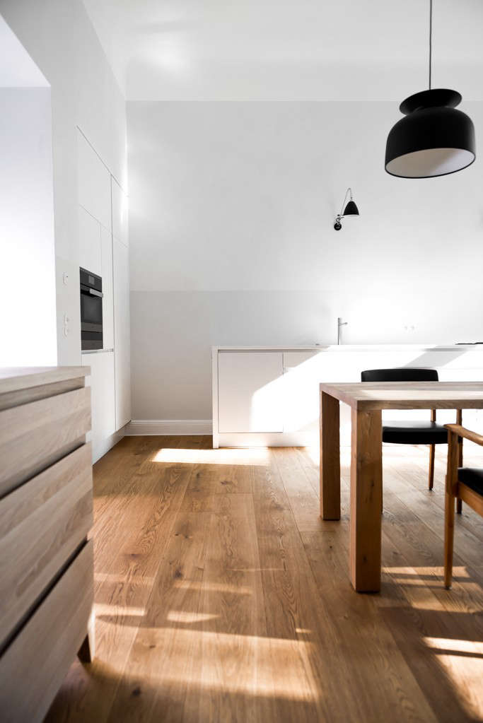 The floors in a Berlin house are oak with an oil-based finish. SeeA Sexy, Minimalist Remodel in Berlin for more.