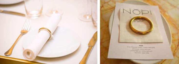 Brass napkin rings at Nopi London Remodelista