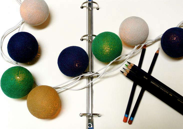 Cable and Cotton Colored String Lights on Desk