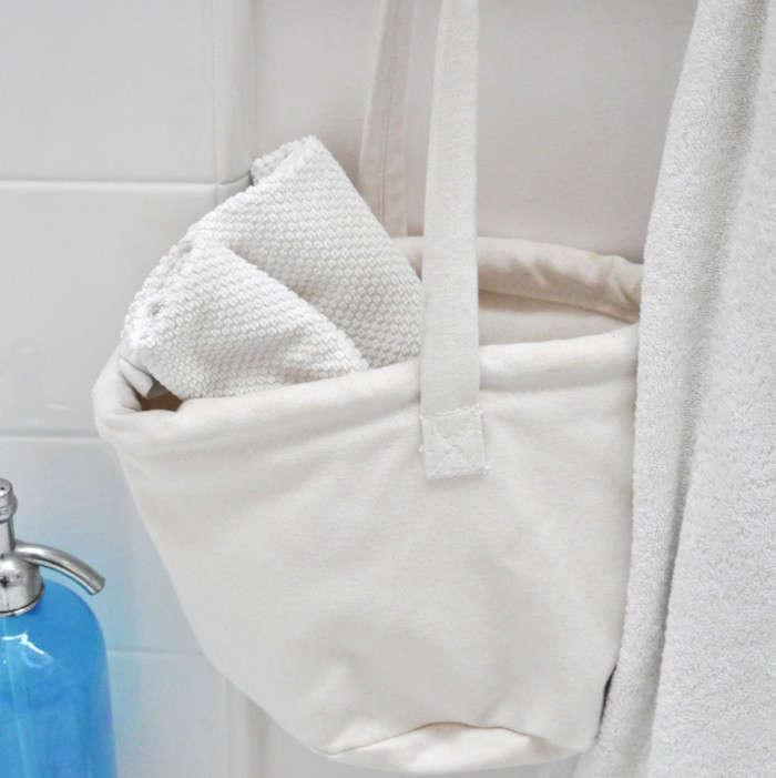 Marine Canvas Water Buckets as Bathroom Storage portrait 4