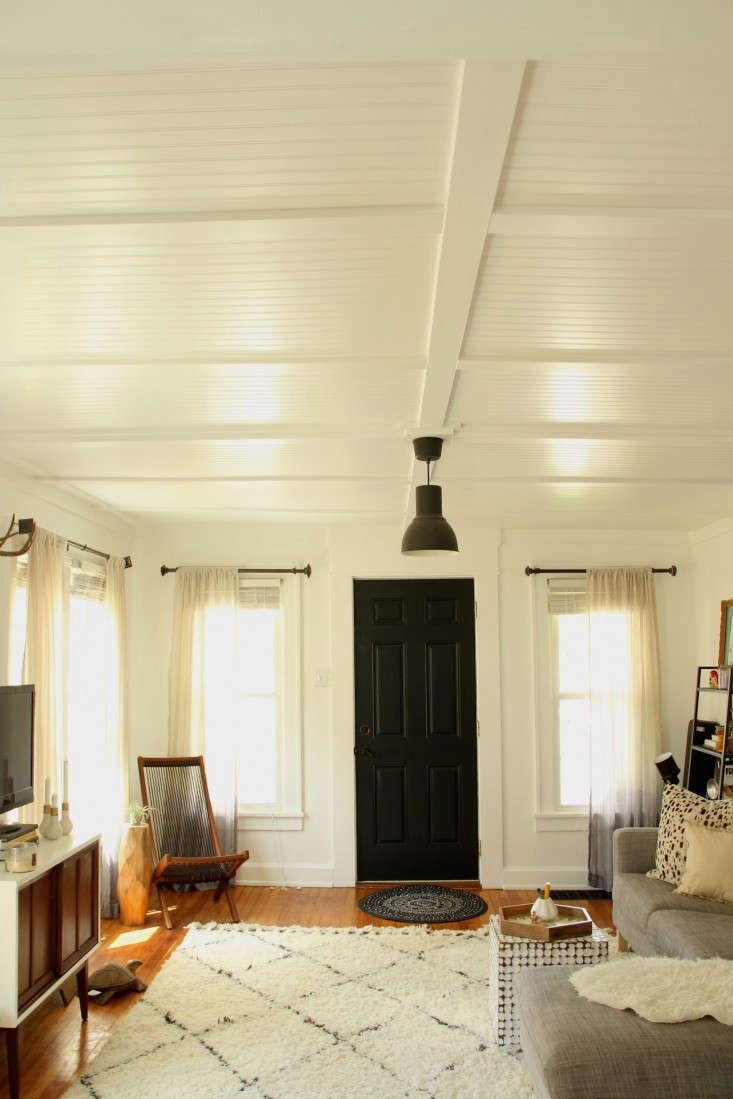 DIY beadboard living room ceiling via Lifestyle and Design Online Remodelista 0
