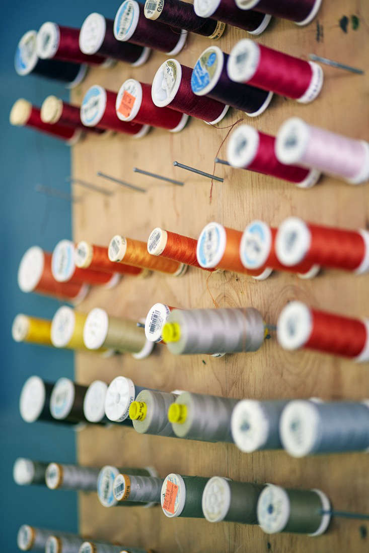 A homemade thread holder.
