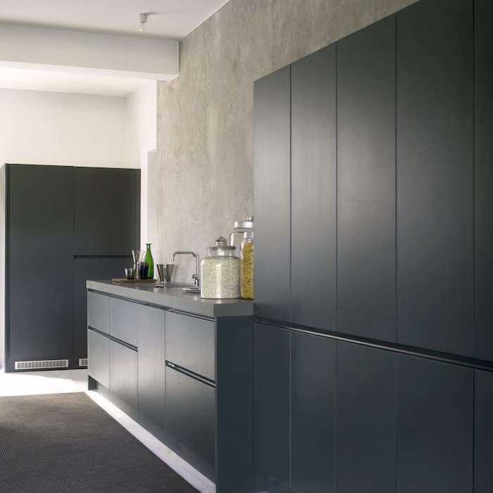 Durat Solid Surface Dark Gray Cabinets Corian Countertops