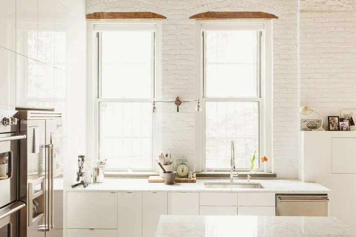 Chef and cookbook writer Ted Lee worked with architect Elizabeth Roberts to design a kitchen with Viking appliances and white surfaces (Ikea paired with Carrara marble) that photograph and function well.