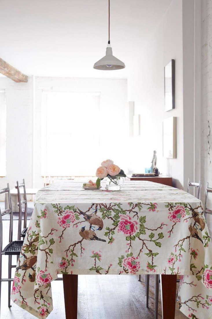 Erica Tanov Lovebird tablecloth Remodelista