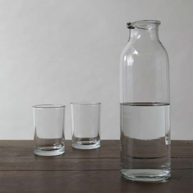 Erica Tanov glass carafe and tumblers Remodelista