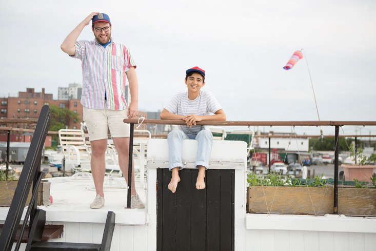 Rehab Diary The Ultimate Houseboat in NYC Gabe and Jolie on the top of the boat.