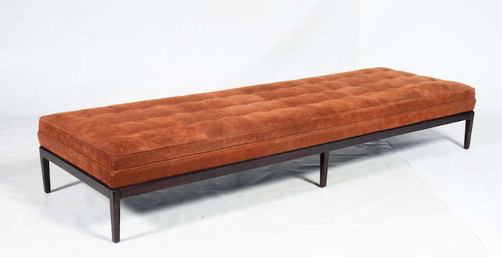 Not your ordinary garage sale: Designer Geoffrey De Sousa has put some of his collection of gently used furniture on the site Previously Owned by a Gay Man. Janet has her eye on this orange velvet George Smith Norris Bench.