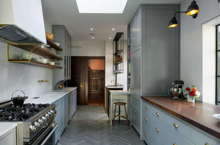Remodeling 101 In Praise of WallMounted Faucets Spotted inKitchen of the Week: A Before & After Culinary Space in Park Slope: a wall mounted brass faucet, well positioned above the sink.