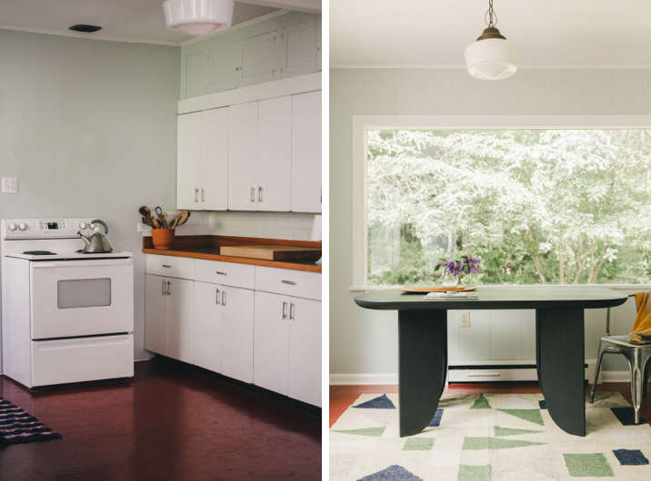 At left, red linoleum in the kitchen of The New Homesteaders: Chelsea and James Minola's Craftsman Quarters on Bainbridge Island. At right, New York architects Russell Groves (a member of the Remodelista Architect/Designer Directory) and Neal Beckstedt elected seamless linoleum for the kitchen floor in their East Hampton home.