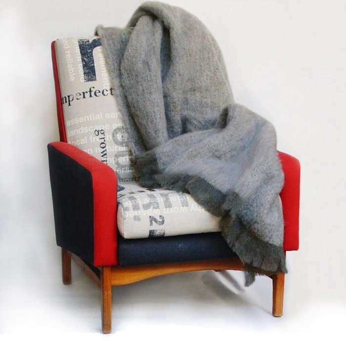 Grey Mohair Throw Blanket