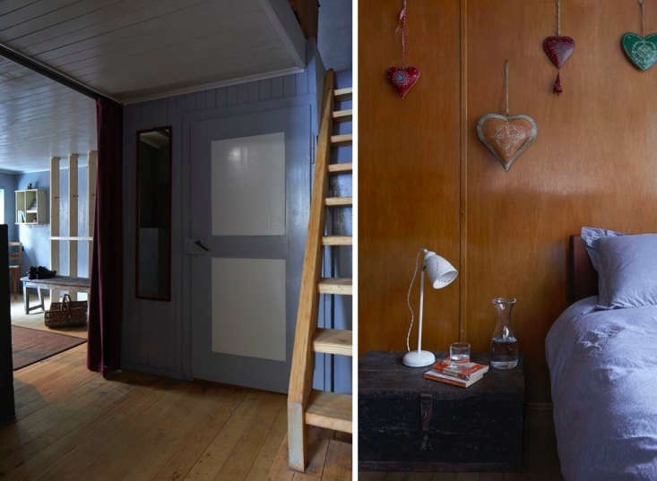 Above L: A wide entryway/mudroom opens to the living area. Restored ladder-like wooden stairs connect the floors. Photograph fromAndermatt Chalet. Above R: The stairs lead to what Tuckey describes as &#8