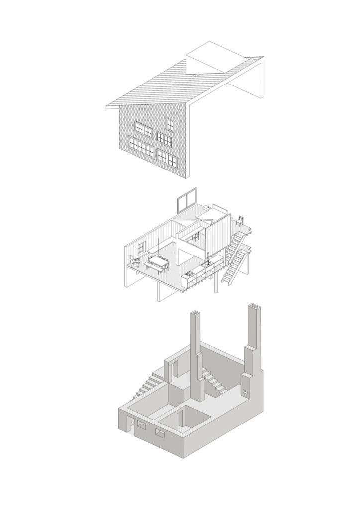 An axonometric drawing details how the architects were able to open up the interior by creating a mezzanine level bedroom and office. The basement has a sauna and ski storage area.