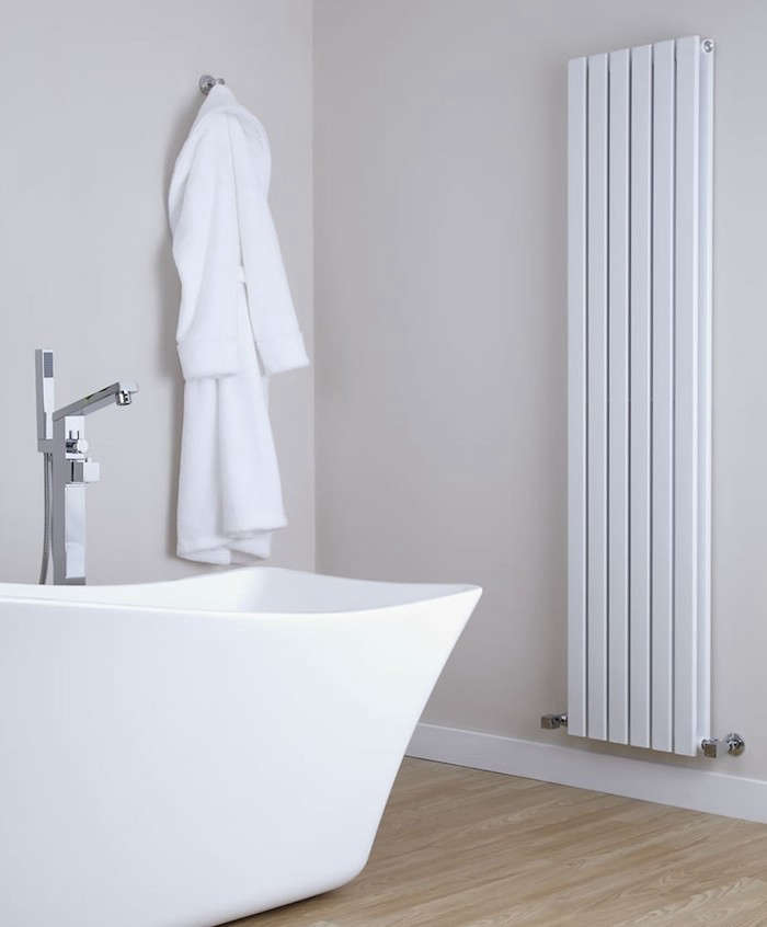 The Sloan White Vertical Double-Panel Radiator by UK company Hudson Reed.