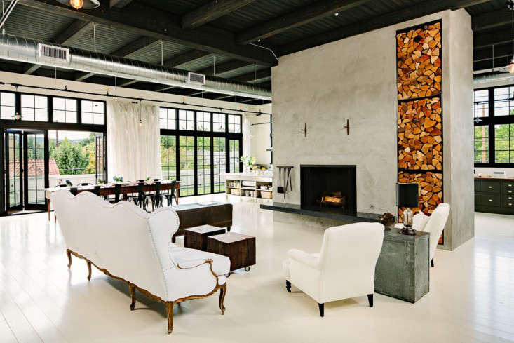 Industrial Portland loft living room Remodelista