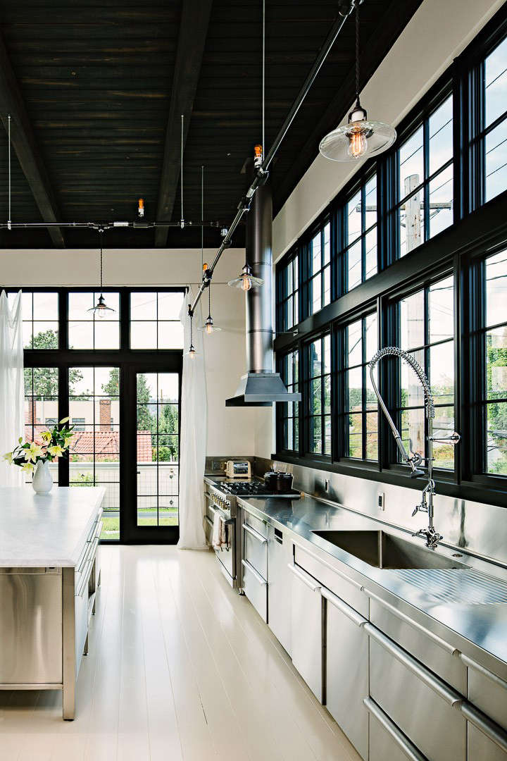 Industrial Portland loft stainless kitchen counters Remodelista