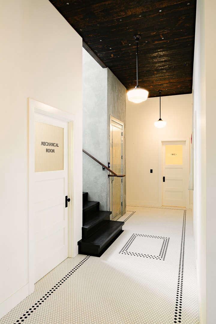 Industrial Portland loft tiled hall Remodelista