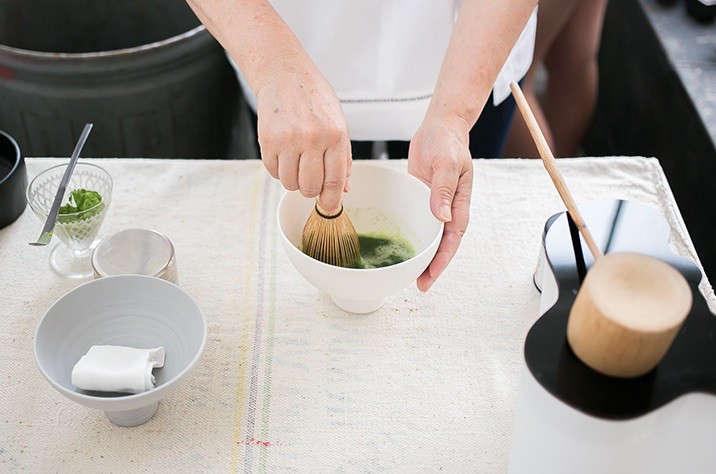 Japanese matcha party making tea