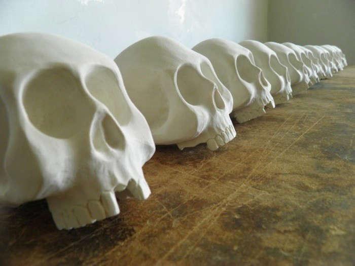 The Seventh Seal Sculptural Wooden Skulls by Joshua Vogel portrait 6