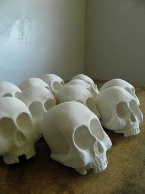 The Seventh Seal Sculptural Wooden Skulls by Joshua Vogel portrait 4