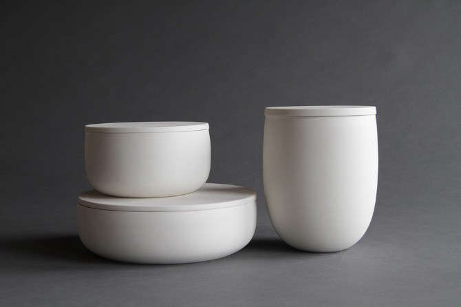 Portland, Oregon, studio potter Lillith Rockett makes these wheel-thrownFlat-Lidded Ceramic Containers of translucent porcelain with glazed interiors and unglazed, polished exteriors. For counter display and table use, an Extra-Small Container is $loading=