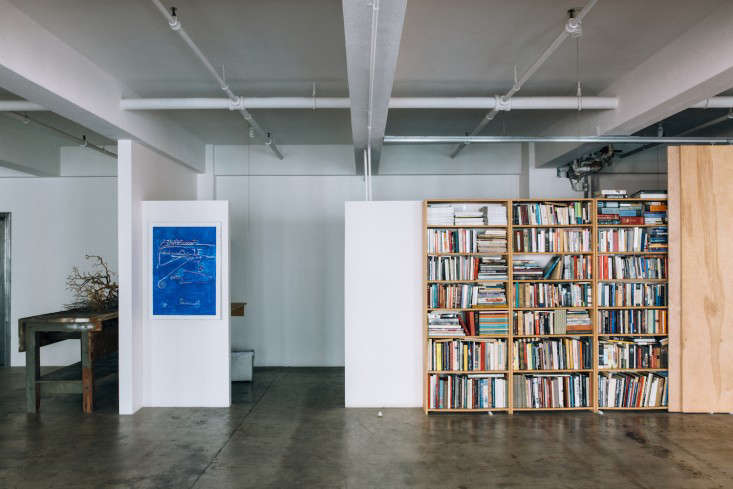 Studio Visit At Work with Two Downtown LA Pioneers Lindon Studio bookshelves Los Angeles Jessica Commingore photography Remodelista
