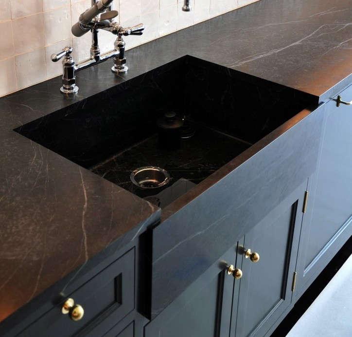 made black soapstone countertop sink remodelista soapstone 16
