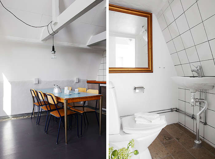 Above L: A dining area in one of the rooms. Above R: A white tiled bathroom.