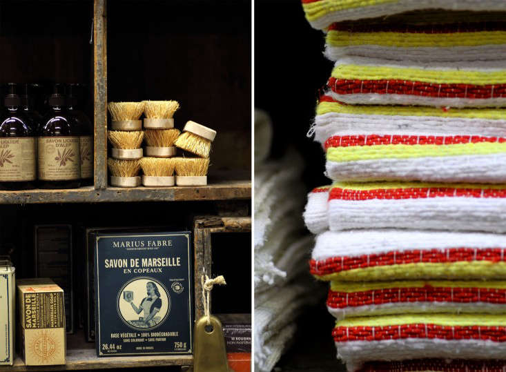 Locally made Savon de Marseille (another area institution) and a display of woven striped towels.