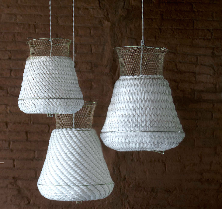 Net Gains 5 Fishing Baskets as Sculptural Lights portrait 3