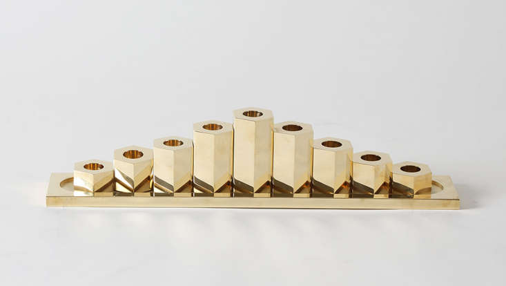 A modern classic from March in San Francisco, the March Brass Menorah, $