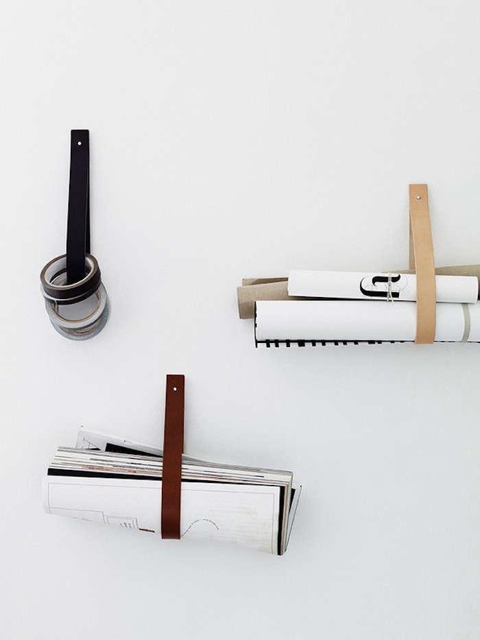 5 Favorites DIY Magazine Racks Made from Leather Straps portrait 3