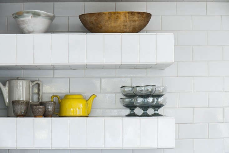 Tiled open shelving in Maya Ivanir's kitchen in Silver Lake, Los Angeles(a pastwinner of the Remodelista Considered Design Awards).