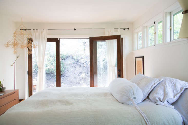 The master bedroom overlooks a &#8