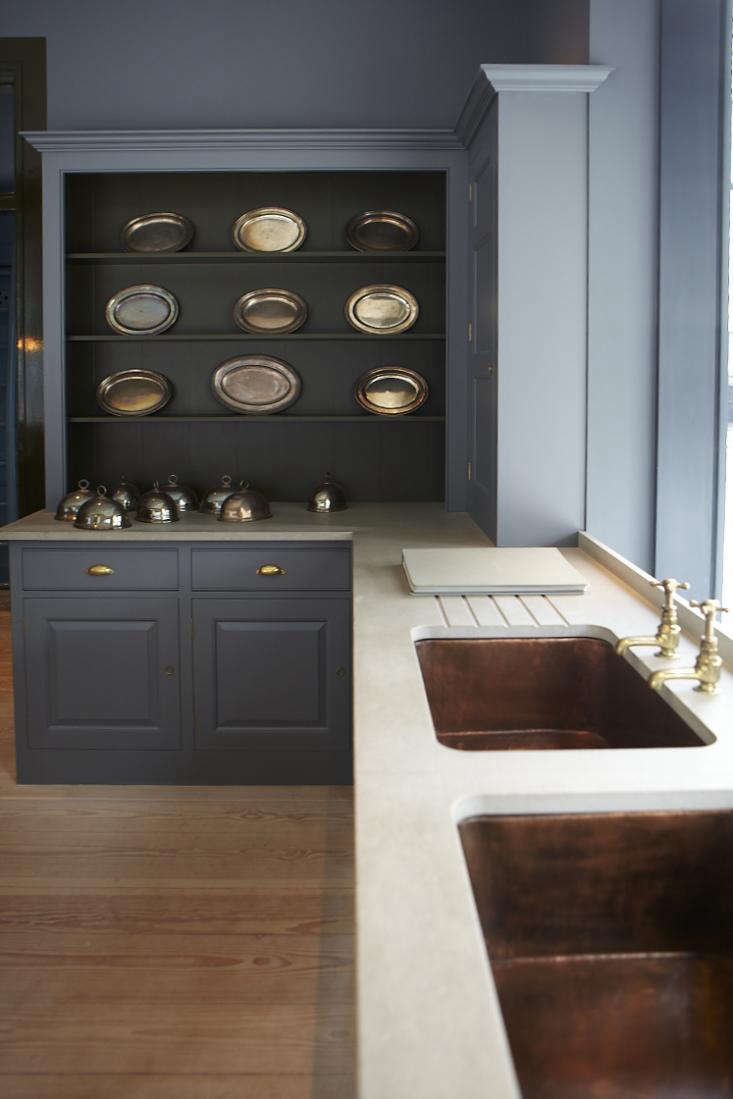 A Plain English kitchen with double copper sinks; for more, see Kitchen Confidential:  Ways to Achieve the Plain English Look.