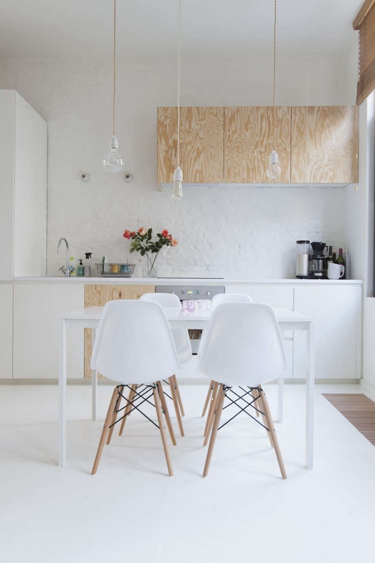 A particle-board floor, painted white, inThe Perfect Studio Apartment, Budget Edition.