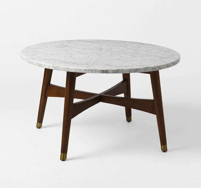 Reeve mid century coffee table marble by West Elm