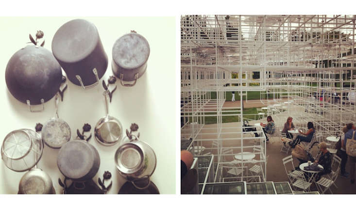 Current Obsessions Autumn Sonata Sarah has been taking snaps of London: left, a wall of pots at Clé Tile; right, where she drank coffee under Sou Fujimoto&#8\2\17;s structure at the Serpentine Gallery.