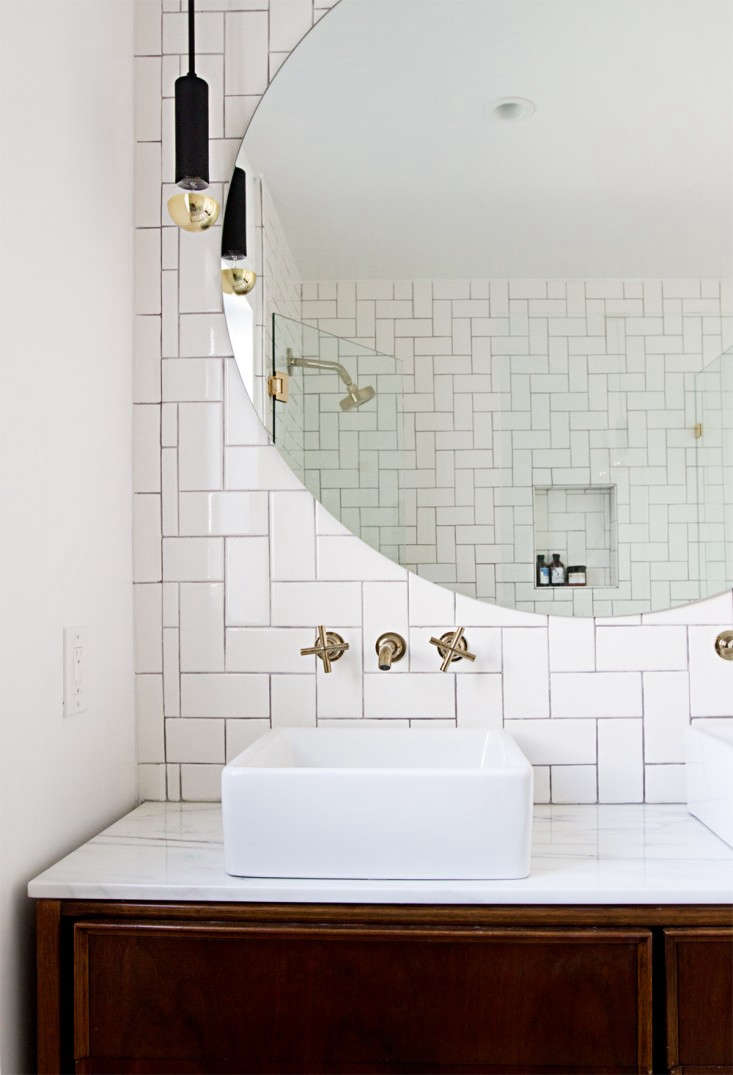 A well-placed outlet inRehab Diary: A Spare Bedroom Turned Glam Master Bath;photograph bySarah Sherman Samuel.