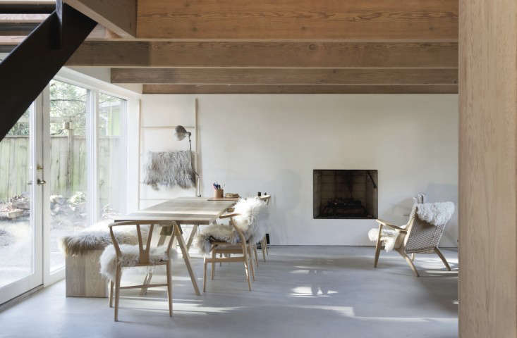 Sheepskins are a natural way of keeping warm in a Vancouver mountain house; see more in Steal This Look: A Ski House in North Vancouver, Sheepskin Included.