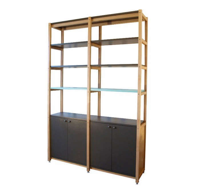 HighLow Wooden Bookcase with Cabinets portrait 4