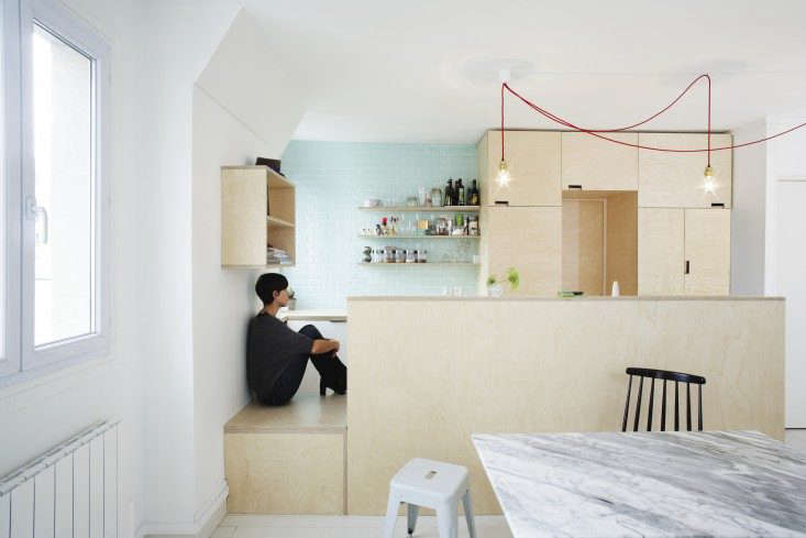 A tiny kitchen built almost entirely of plywood in Kitchen of the Week: A Compact Family Kitchen in Paris.