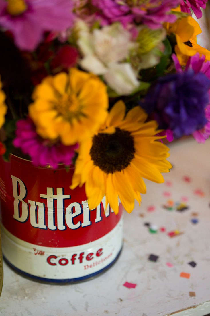 Swanson flowers in coffee tin