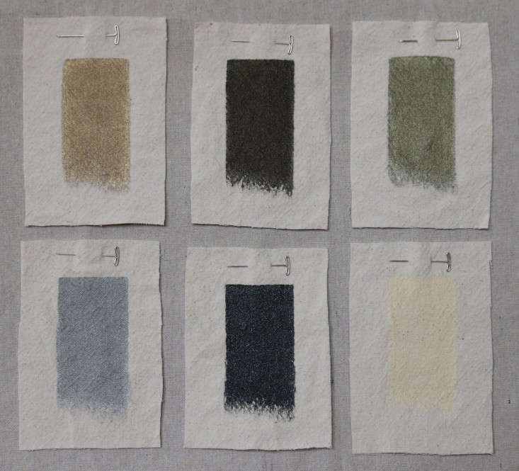 Swatches of Modern Masters Metallic Paints Remodelista