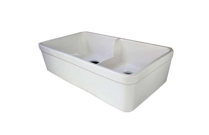 alfi brand short wall double bowl fireclay sink remodelista