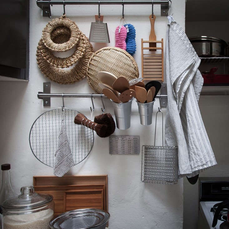 Ultimate Budget Storage 10 Kitchens with Ikeas Grundtal Rail System Rails and S hooks are stocked with Japanese brushes, sieves, and linens. Styled by Remodelista Market alum Anzu New York.
