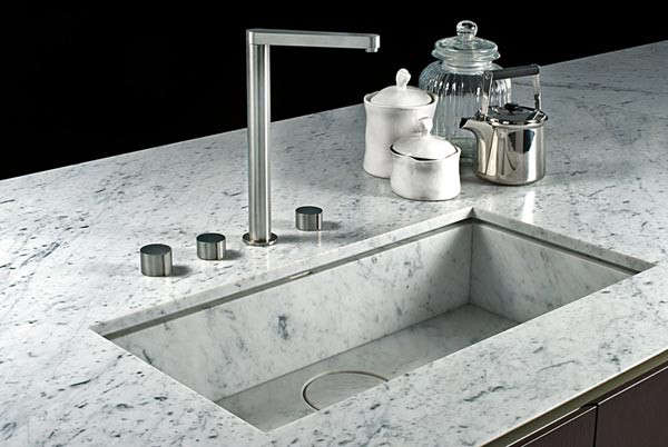 Trend Alert 8 Integrated Marble Kitchen Sinks An inset marble sink with marble stopper by Italian kitchen makers Boffi.